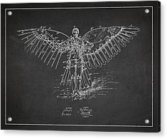 Icarus Flying Machine Patent Drawing Front View Acrylic Print by Aged Pixel