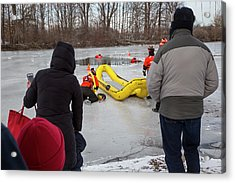 Ice Rescue Demonstration Acrylic Print by Jim West/science Photo Library