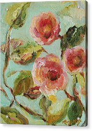Acrylic Print featuring the painting Impressionist Floral Painting by Mary Wolf