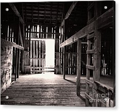 Acrylic Print featuring the photograph Inside An Old Barn by John S