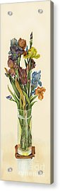 irises in Vase Acrylic Print by Nan Wright