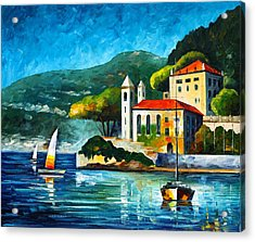 Italy Lake Como Villa Balbianello Acrylic Print by Leonid Afremov
