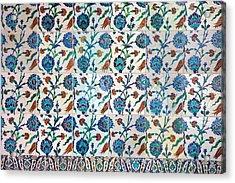 Iznik Ceramics With Floral Design Acrylic Print by Artur Bogacki