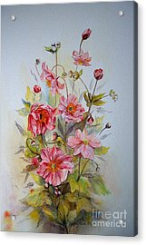 Acrylic Print featuring the painting Japanese Anemones by Beatrice Cloake