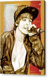 Justin Bieber - Stylised Drawing Art Poster Acrylic Print by Kim Wang