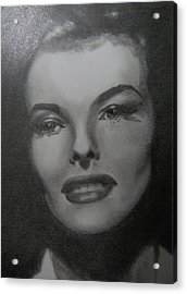 Acrylic Print featuring the drawing Kathryn Hepburn by Lori Ippolito