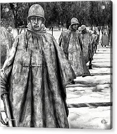 Korean War Memorial Washington Dc Acrylic Print by Bob and Nadine Johnston