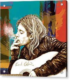 Kurt Cobain Stylised Pop Morden Art Drawing Sketch Portrait Acrylic Print by Kim Wang
