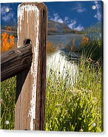 Landscape With Fence Pole Acrylic Print by Gunter Nezhoda