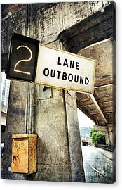 2 Lane Outbound Traffic Sign Acrylic Print by Amy Cicconi