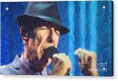 Leonard Cohen In Concert 2013 Acrylic Print by Liz Leyden