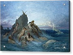 Les Oceanides Acrylic Print by Gustave Dore