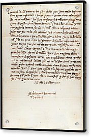 Letter Of Michelangelo Acrylic Print by British Library