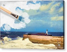 Lighthouse At Whitehaven Acrylic Print by Amanda Elwell