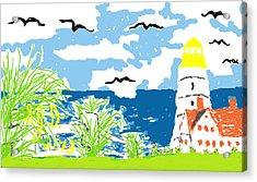 Lighthouse By The Sea Acrylic Print by Joe Dillon