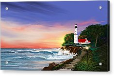 Lighthouse On The Cliff Acrylic Print by Anthony Fishburne