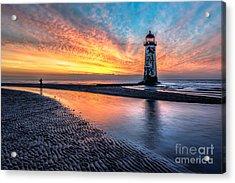 Lighthouse Sunset Acrylic Print by Adrian Evans