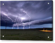Lightning Strikes Acrylic Print by Roger Hill