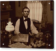 Lincoln At Breakfast Acrylic Print by Ray Downing
