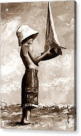 Little Boy In The Beach Acrylic Print by Emerico Imre Toth
