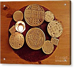 Liturgical Bread Stamps Acrylic Print by Sarah Loft