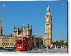 London, Big Ben And Traffic On Acrylic Print
