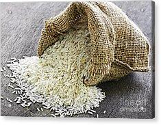 Long Grain Rice In Burlap Sack Acrylic Print by Elena Elisseeva
