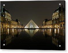 Louvre Pyramid And Pavillon Richelieu Acrylic Print by Rostislav Bychkov