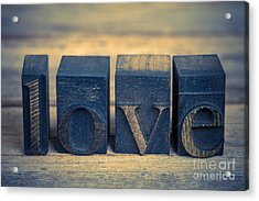 Love In Printing Blocks Acrylic Print by Jane Rix