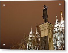 Low Angle View Of A Statue In Front Acrylic Print