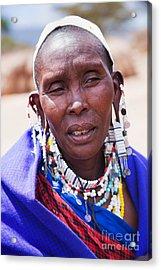 Maasai Woman Portrait In Tanzania Acrylic Print by Michal Bednarek