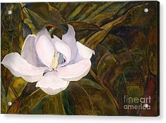 Acrylic Print featuring the painting Magnolia Blossom by Sandy Linden