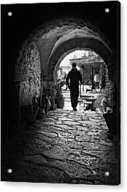 Acrylic Print featuring the photograph Man In An Archway / Hammamet by Barry O Carroll