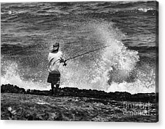 Man Versus The Sea Acrylic Print by Mike  Dawson