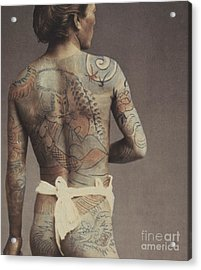 Man With Traditional Japanese Irezumi Tattoo Acrylic Print by Japanese Photographer