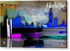 Manhattan Skyline Watercolor Acrylic Print by Marvin Blaine