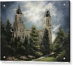 Manti Utah Temple-pathway To Heaven Pastel Acrylic Print