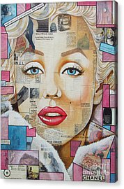 Marilyn In Pink And Blue Acrylic Print by Joseph Sonday