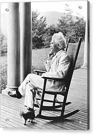 Mark Twain On A Porch Acrylic Print by Underwood Archives