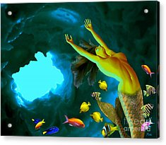 Mermaid Cave Acrylic Print by Steed Edwards