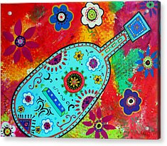 Mexican Guitar Acrylic Print by Pristine Cartera Turkus