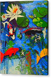 Miami Koi Collage Acrylic Print by Angela Annas