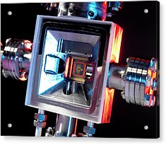 Microfabricated Ion Trap Acrylic Print by Andrew Brookes, National Physical Laboratory/science Photo Library