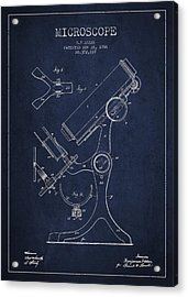 Microscope Patent Drawing From 1886 - Navy Blue Acrylic Print by Aged Pixel