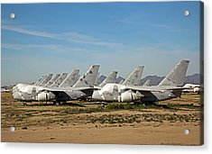 Military Aircraft In Salvage Yard Acrylic Print by Jim West