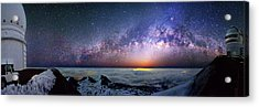 Milky Way Over Telescopes On Hawaii Acrylic Print by Walter Pacholka, Astropics