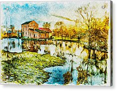 Acrylic Print featuring the digital art Mill By The River by Jaroslaw Grudzinski