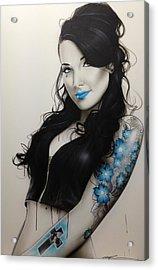 Portrait - ' Miss Metal ' Acrylic Print by Christian Chapman Art