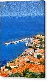 Molyvos Town Acrylic Print by George Atsametakis