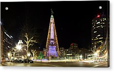 Monument Circle At Christmas Acrylic Print